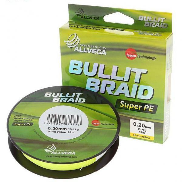 "Леска плет. ""ALLVEGA"" Bullit Braid hi-vis yellow 0.10 92м"